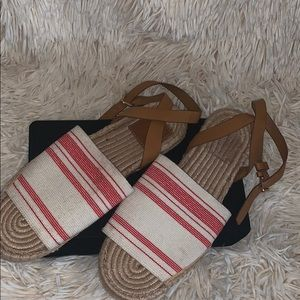 White/ red ankle awning espadrille flat
